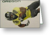 Sports Art Drawings Greeting Cards - Oregon Ducks LaMichael James Greeting Card by Ryne St Clair