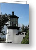 Fresnel Greeting Cards - Oregon Lighthouses - Cape Meares Lighthouse Greeting Card by Christine Till