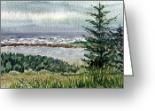 Irina Greeting Cards - Oregon Shore Greeting Card by Irina Sztukowski