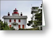 Highway One Greeting Cards - Oregons Seacoast Lighthouses - Yaquina Bay Lighthouse - Old and New Greeting Card by Christine Till