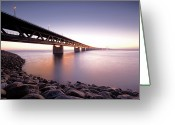 Dusk Greeting Cards - Oresundsbron Greeting Card by Andreas Hagman Photo Sweden