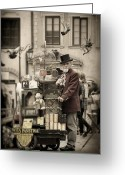 Hurdy-gurdy Greeting Cards - Organ grinder Greeting Card by Viktor Korostynski