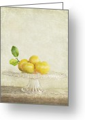 Cottage Chic Greeting Cards - Organic Mandarins Greeting Card by Linde Townsend