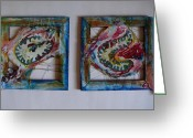 Square Sculpture Greeting Cards - Organic Greeting Card by Neda Laketic 
