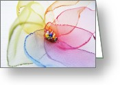 Ooak Photo Greeting Cards - Organza Flower Greeting Card by Marianna Mills