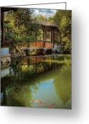 Kingyo Greeting Cards - Orient - Bridge - The Chinese Garden Greeting Card by Mike Savad