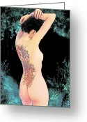 Pinups Greeting Cards - Oriental Beauty Greeting Card by Maynard Ellis