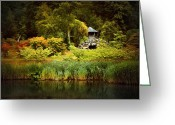 Shed Greeting Cards - Oriental Garden Greeting Card by Svetlana Sewell
