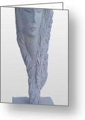 Stone Sculpture Greeting Cards - Oriental Women Greeting Card by Hwaida Bouhamdan