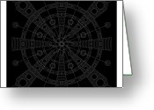 Mayan Art Greeting Cards - Origin Inverse Greeting Card by Dean Caminiti