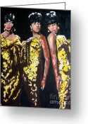Music Greeting Cards - Original Divas The Supremes Greeting Card by Ronald Young