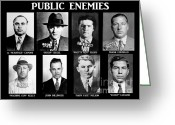 Lucky Greeting Cards - Original Gangsters - Public Enemies Greeting Card by Paul Ward