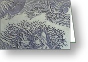 Abstract Design Reliefs Greeting Cards - Original Linoleum Block Print Greeting Card by Thor Senior