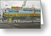 Nathans Greeting Cards - Original Nathans Coney Island Greeting Card by Andrew Kazmierski