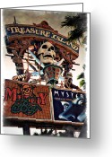 Cirque Soleil Greeting Cards - Original Treasure Island Marquee 1994 - IMPRESSIONS Greeting Card by Ricky Barnard