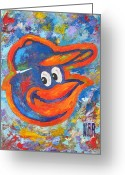 League Mixed Media Greeting Cards - ORIOLES Portrait Greeting Card by Dan Haraga