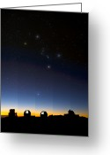 Observatories Greeting Cards - Orion And Observatories, Hawaii Greeting Card by David Nunuk