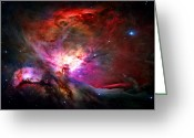Clouds Greeting Cards - Orion Nebula Greeting Card by Michael Tompsett