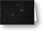 Starfield Greeting Cards - Orions Belt, Horsehead Nebula And Flame Greeting Card by Luis Argerich