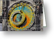 Clock Greeting Cards - Orloj - Astronomical Clock - Prague Greeting Card by Christine Till