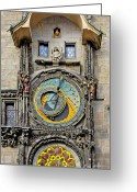 Zodiac Greeting Cards - ORLOJ - Prague Astronomical Clock Greeting Card by Christine Till