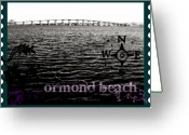Florida Bridge Mixed Media Greeting Cards - Ormond Beach postcard Greeting Card by Laura Ogrodnik