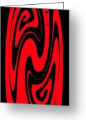 Art On Wall Greeting Cards - Ornamental Vase - Red on Black Greeting Card by Kaye Menner