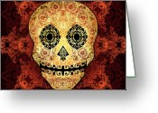 Mayo Greeting Cards - Ornate Floral Sugar Skull Greeting Card by Tammy Wetzel