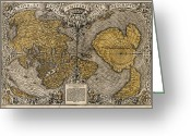 Text Map Photo Greeting Cards - Oronce Fines World Map, 1531 Greeting Card by Library Of Congress, Geography And Map Division