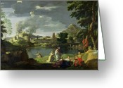 Poussin Greeting Cards - Orpheus and Eurydice Greeting Card by Nicolas Poussin