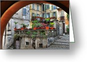 Flower Pots Greeting Cards - Orta San Giulio in Italy Greeting Card by Joana Kruse