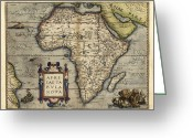 Text Map Photo Greeting Cards - Orteliuss Map Of Africa, 1570 Greeting Card by Library Of Congress, Geography And Map Division