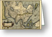 Text Map Photo Greeting Cards - Orteliuss Map Of Asia, 1570 Greeting Card by Library Of Congress, Geography And Map Division