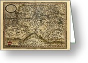 Text Map Photo Greeting Cards - Orteliuss Map Of Austria, 1570 Greeting Card by Library Of Congress, Geography And Map Division
