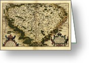 Text Map Photo Greeting Cards - Orteliuss Map Of Bohemia, 1570 Greeting Card by Library Of Congress, Geography And Map Division