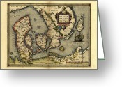 Text Map Photo Greeting Cards - Orteliuss Map Of Denmark, 1570 Greeting Card by Library Of Congress, Geography And Map Division
