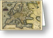 Text Map Photo Greeting Cards - Orteliuss Map Of Europe, 1570 Greeting Card by Library Of Congress, Geography And Map Division