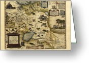Text Map Photo Greeting Cards - Orteliuss Map Of European Russia, 1570 Greeting Card by Library Of Congress, Geography And Map Division
