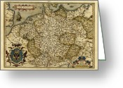 Text Map Photo Greeting Cards - Orteliuss Map Of Germany, 1570 Greeting Card by Library Of Congress, Geography And Map Division