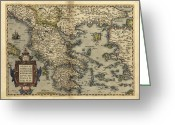 Text Map Photo Greeting Cards - Orteliuss Map Of Greece, 1570 Greeting Card by Library Of Congress, Geography And Map Division