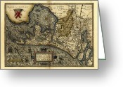 Text Map Photo Greeting Cards - Orteliuss Map Of Holland, 1570 Greeting Card by Library Of Congress, Geography And Map Division