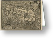 Text Map Photo Greeting Cards - Orteliuss Map Of Ireland, 1598 Greeting Card by Library Of Congress, Geography And Map Division