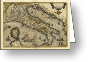 Text Map Photo Greeting Cards - Orteliuss Map Of Italy, 1570 Greeting Card by Library Of Congress, Geography And Map Division