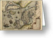 Text Map Photo Greeting Cards - Orteliuss Map Of Northern Europe, 1570 Greeting Card by Library Of Congress, Geography And Map Division