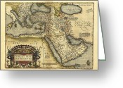 Text Map Photo Greeting Cards - Orteliuss Map Of Ottoman Empire, 1570 Greeting Card by Library Of Congress, Geography And Map Division