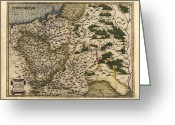 Text Map Photo Greeting Cards - Orteliuss Map Of Poland, 1570 Greeting Card by Library Of Congress, Geography And Map Division