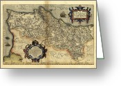 Text Map Photo Greeting Cards - Orteliuss Map Of Portugal, 1570 Greeting Card by Library Of Congress, Geography And Map Division
