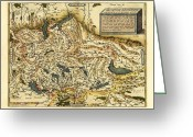 Text Map Photo Greeting Cards - Orteliuss Map Of Switzerland, 1570 Greeting Card by Library Of Congress, Geography And Map Division