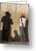 Two Men Greeting Cards - Orthodox Jew And Soldier Pray, Western Greeting Card by Richard Nowitz