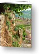 Battlement Greeting Cards - Orvieto Battlement Greeting Card by Ellen Henneke